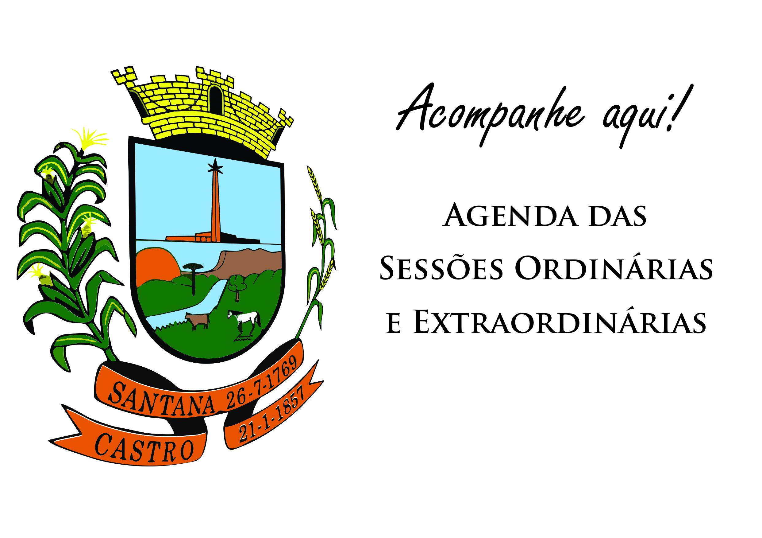 Agenda das Sessões Ordinárias e Extraordinárias de Janeiro