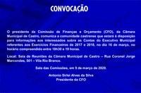 CONVOCAÇÃO PARA REUNIÃO DA COMISSÃO DE FINANÇAS E ORÇAMENTO (CFO)