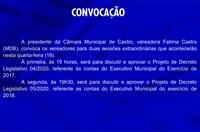 CONVOCAÇÃO PARA SESSÕES EXTRAORDINÁRIAS - 18-3-2020